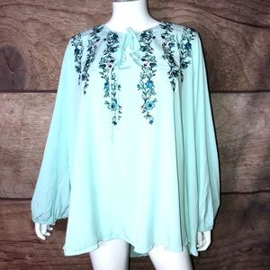 Lane Bryant Shirt Women's Size 28 Embroidered